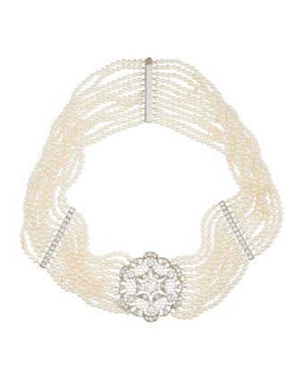 Estate Art Deco Diamond Pearl Choker Necklace