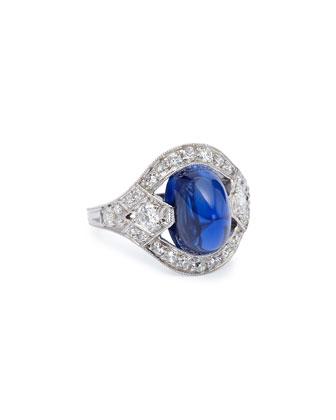 Estate Art Deco Sapphire Cabochon & Diamond Ring, Size 5