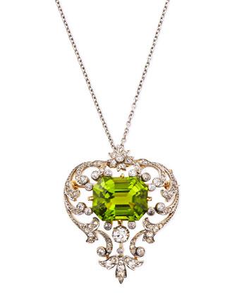 Estate Edwardian Peridot Scroll Pin Pendant Necklace