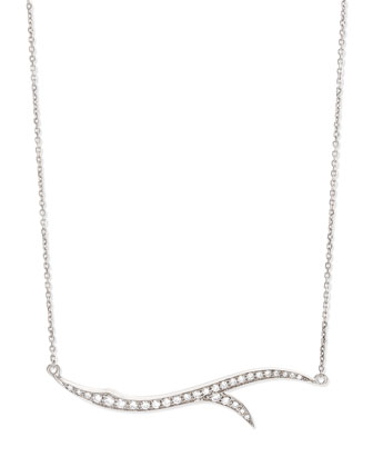 18k White Gold & Diamond Thorn Pendant Necklace
