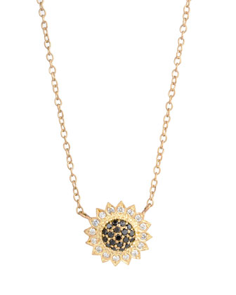 Small Black & White Diamond Sunflower Necklace