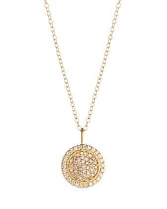 18k Pave Diamond Disc Pendant Necklace
