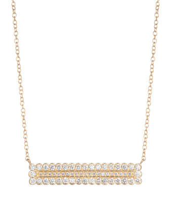 Double Scalloped Diamond Rectangle Necklace
