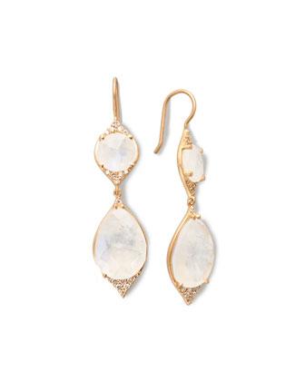 Moonstone & Diamond Double-Drop Earrings