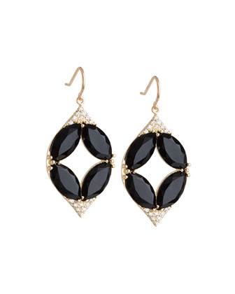 Marquise Oval Onyx & Diamond Point Earrings