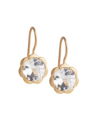Petite Scalloped White Topaz Earrings