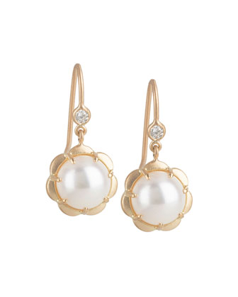 Petite Scalloped Pearl & Diamond Drop Earrings