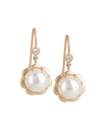 Petite Scalloped Pearl & Diamond Drop Earrings