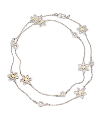 Opera Silver & Gold Flower Necklace