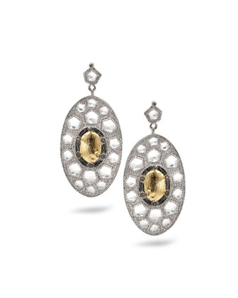 Opera Gold Center Oval Drop Earrings