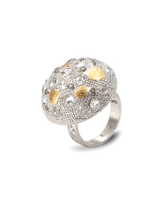 Opera Silver Crystal & Diamond Dome Ring