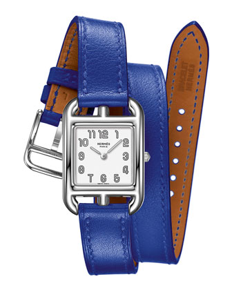 Herm??s Timepieces Cape Cod Watch on a Double Tour Electric Blue Calf ...