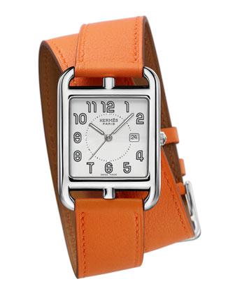 Herm??s Timepieces Cape Cod Watch on a Double Tour Orange Calf Strap ...