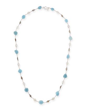 Aquamarine, Moonstone & Labradorite Long Necklace, 35
