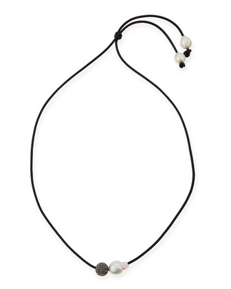 Baroque Pearl & Crystal Bead Lariat Necklace, 34