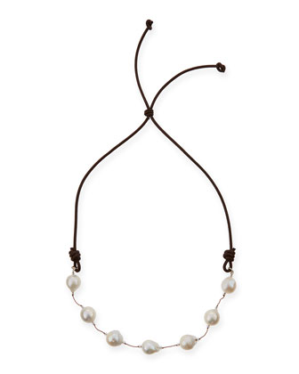Baroque Pearl Leather Necklace, 29