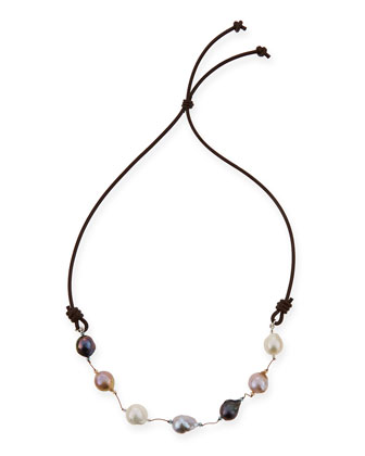 Multicolor Baroque Pearl & Leather Necklace, 29