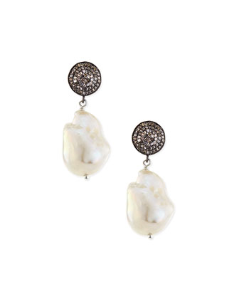 Baroque Pearl & Pave Diamond Earrings