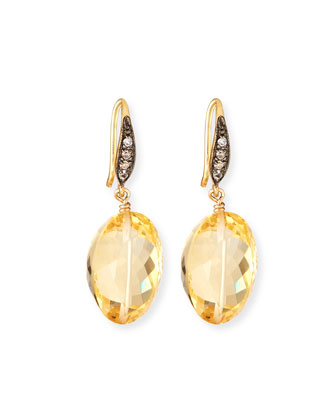 Citrine & White Sapphire Drop Earrings