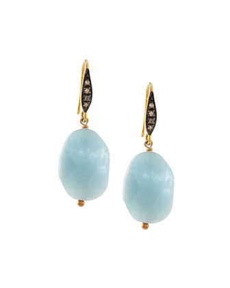Aquamarine & White Sapphire Drop Earrings