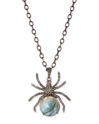Diamond Labradorite Spider Pendant Necklace