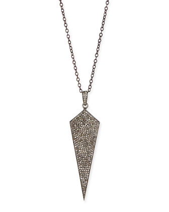 Silver Wide Diamond Dagger Pendant Necklace, 16