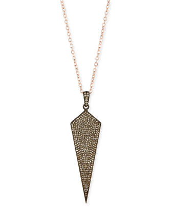 Wide Diamond Dagger Necklace with Rose Gold Chain, 16