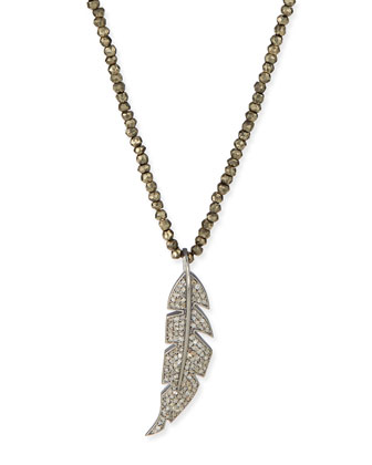Diamond Feather & Pyrite Pendant Necklace