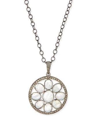 Moonstone & Diamond Mandala Pendant Necklace