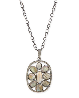 Silver Labradorite & Diamond Mandala Pendant Necklace