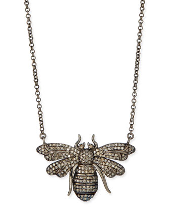 Silver Diamond Bee Pendant Necklace