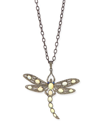 Opal & Diamond Dragonfly Long Necklace, 35