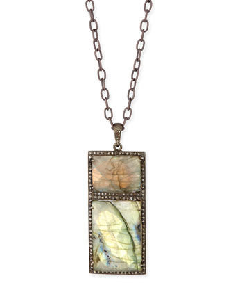 Double Rectangle Labradorite Necklace with Diamonds, 35