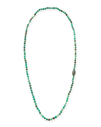 Green Moss Opal Necklace with Diamonds & Emeralds, 45