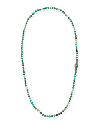 Green Moss Opal Necklace with Diamonds & Emeralds, 46