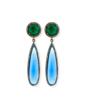 Green Onyx & Chalcedony Drop Earrings