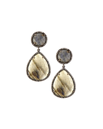 Labradorite Diamond Teardrop Earrings