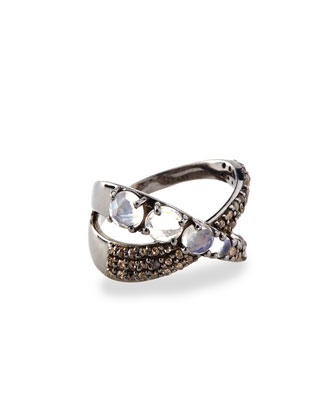 Moonstone & Diamond Ribbon Ring, Size 7