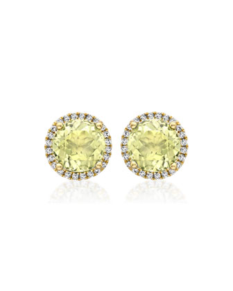 Grace Lemon Quartz Stud Earrings with Diamonds