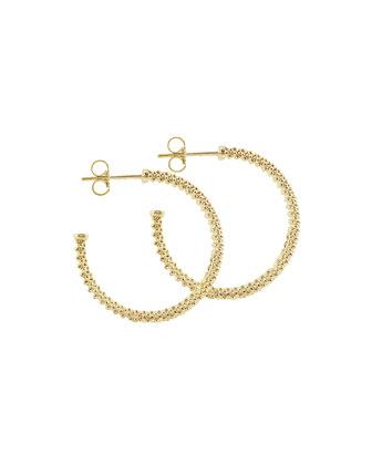 Caviar 18k Gold Hoop Earrings