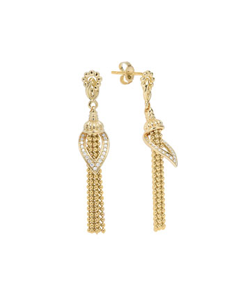 18k Gold Diamond Tassel Earrings