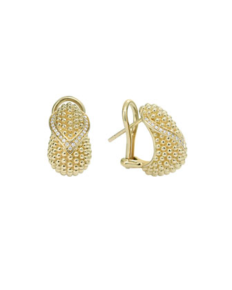 Caviar 18k Gold & Diamond Earrings