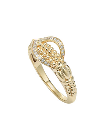 Caviar 18k Gold & Diamond Ring, Size 7