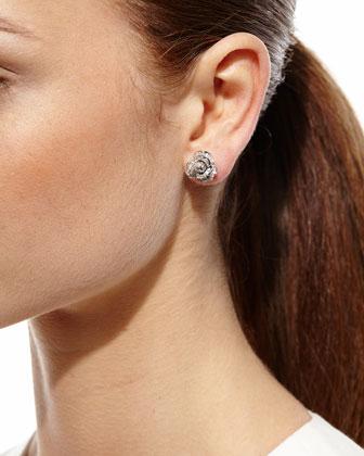 Pave Diamond Rose Stud Earrings