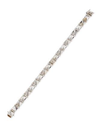 18k White Gold Small Diamond Spike Bracelet