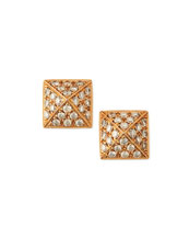 Pyramid Diamond Stud Earrings, 18k Rose Gold