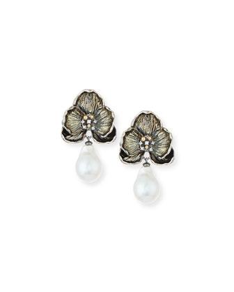 Orchid Baroque Pearl & Diamond Earrings