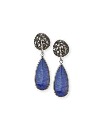 Botanical Leaf Lapis & Diamond Drop Earrings