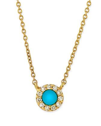 Turquoise & Diamond Eye Pendant Necklace