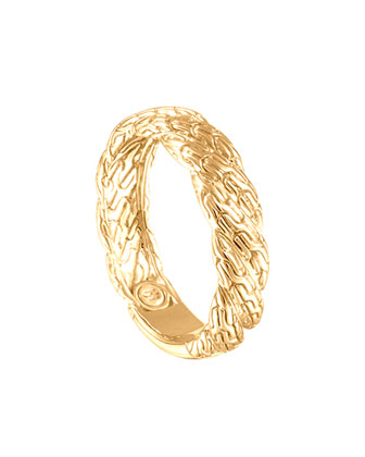 Classic Chain Twisted 18k Gold Ring, Size 6